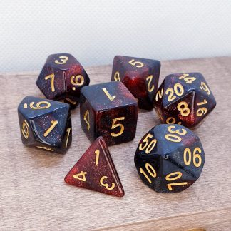 Black and red glitter polyhedral dungeons and dragons dice set