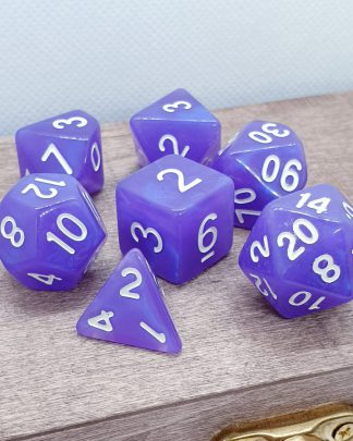 Purple iridescent polyhedral dungeons and dragons dice set