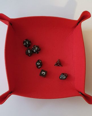 Red dice rolling tray
