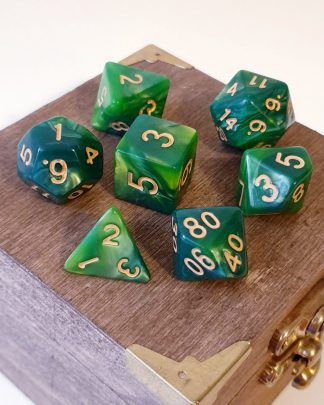 Green polyhedral dungeons and dragons dice set