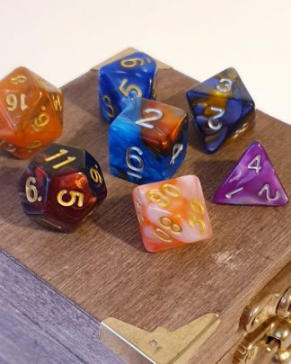 Multicoloured polyhedral dungeons and dragons dice set