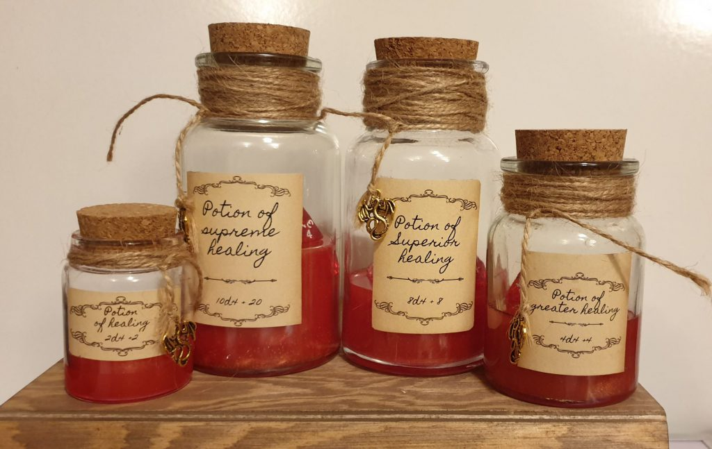Handmade potions of healing, dungeons and dragons herbalism kit healing potion dice rollers