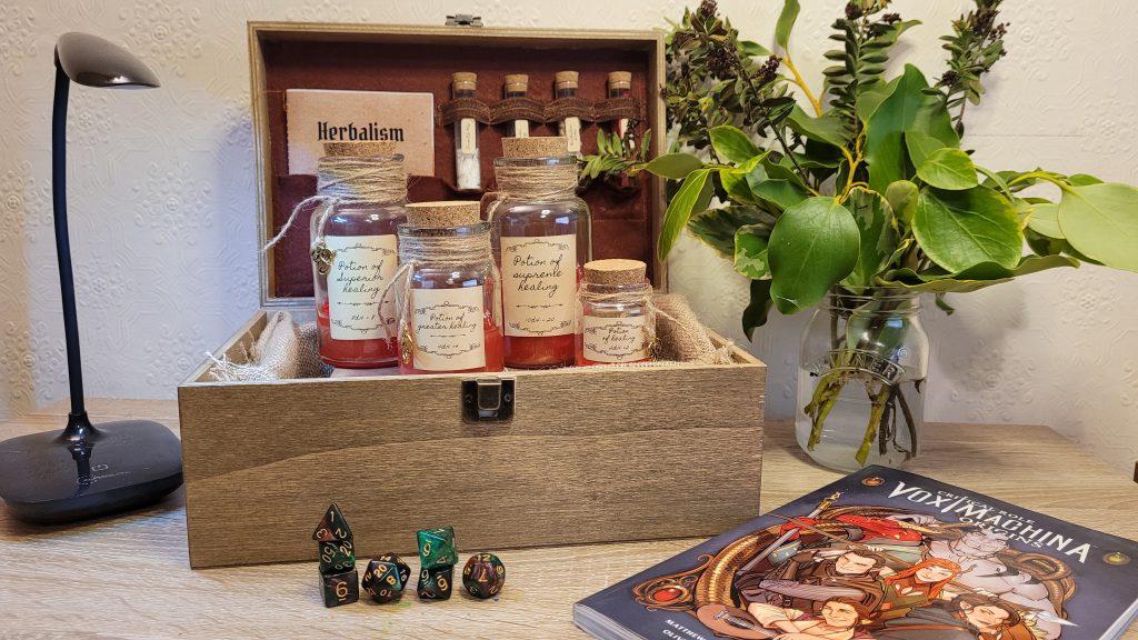 Handmade herbalism kit healing potion dice roller box