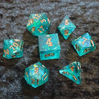 Handmade aqua and iridescent sharp edge polyhedral dungeons and dragons dice set