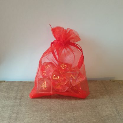 Red and gold polyhedral dungeons and dragons dice set