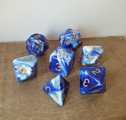 Minton's Willow blue and white marble effect polyhedral dungeons and dragons dice set