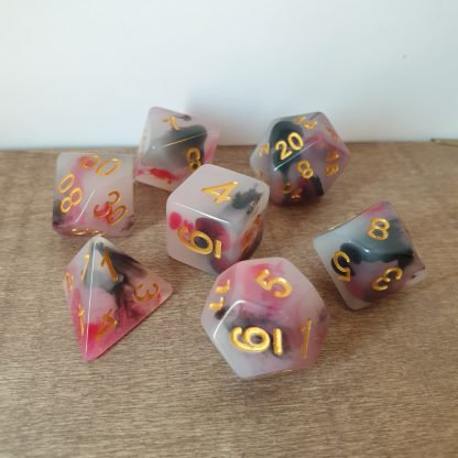 Summon Fiend red and black opal effect polyhedral dungeons and dragons dice set