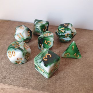Earthbind green and white marble effect polyhedral dungeons and dragons dice set