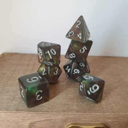 Druid Grove galaxy nebula effect polyhedral dungeons and dragons dice set