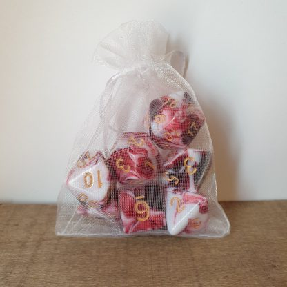 Blood in the Snow red and white marble effect polyhedral dungeons and dragons dice set