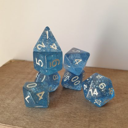 Feather Fall blue and silver glitter polyhedral dungeons and dragons dice set