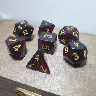 Hidden Royalty purple and gold polyhedral dungeons and dragons dice set