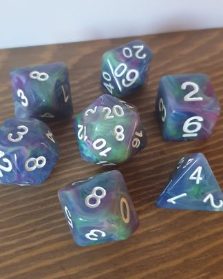 Waterlily dirty pour cool tone polyhedral dungeons and dragons dice set
