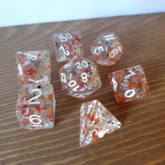 Autumn speckled orange and green polyhedral dungeons and dragons dice set
