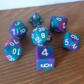 Bermuda II teal and magenta swirled polyhedral dungeons and dragons dice set