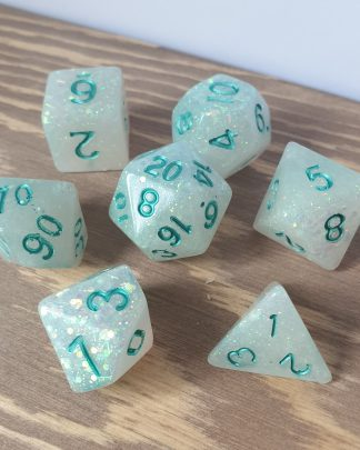 Icy Winds white and iridescent glitter handmade polyhedral dungeons and dragons dice set